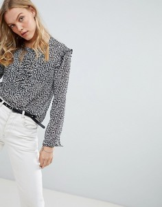 Полупрозрачная блузка с принтом Maison Scotch - Серый