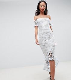 9719397bd23 Кружевное платье миди с широким вырезом и годе Missguided Tall - Синий