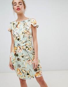 Платье-футляр с короткими рукавами и цветочным принтом Closet London - Мульти