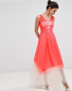 Платье макси колор блок с плиссировкой Coast Luca - Красный