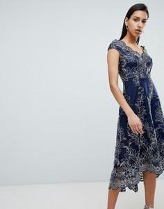 Платье миди с открытыми плечами City Goddess - Темно-синий