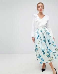 Пышное платье миди с цветочным принтом Closet London - Мульти