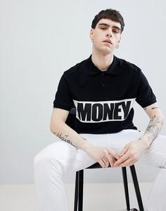 Футболка-поло черного цвета с короткими рукавами и контрастной вставкой Money - Черный