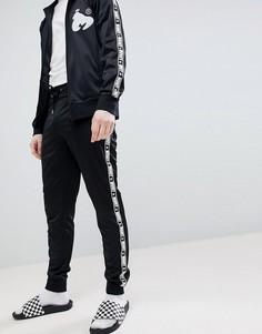 Черные спортивные штаны с контрастными полосками по бокам Money - Черный