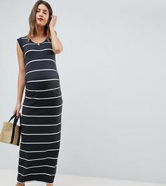 Трикотажное платье макси в полоску Mamalicious - Серый Mama.Licious