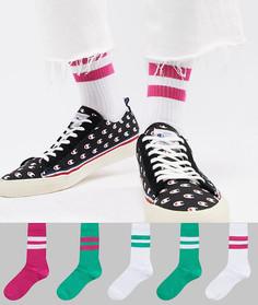 5 пар зеленых и розовых спортивных носков ASOS - Мульти