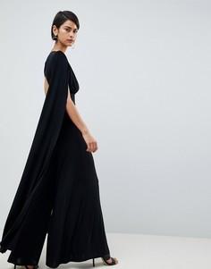 Комбинезон с широкими штанинами и рукавами-кейп Club L - Черный