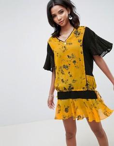 Свободное платье с заниженной талией и цветочным принтом Religion - Желтый