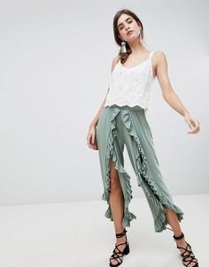 Широкие брюки с оборками ASOS DESIGN - Зеленый