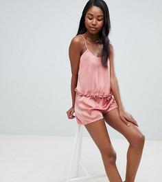 Атласная пижама с топом на бретельках и шортами Missguided - Розовый