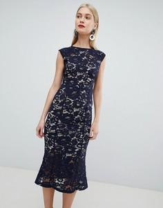 Кружевное платье миди с короткими рукавами Lipsy - Темно-синий