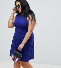 Короткое приталенное платье с перекрученной отделкой ASOS DESIGN Curve - Темно-синий