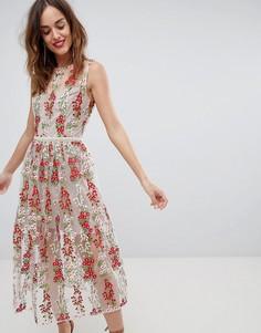 Платье миди с маками Bronx & Banco - Мульти