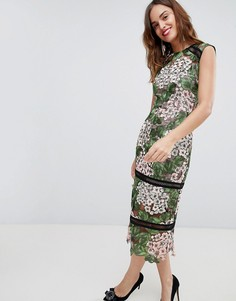 Платье миди с цветочной вышивкой Bronx & Banco - Мульти