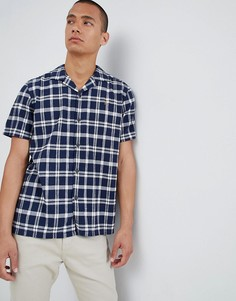Темно-синяя рубашка с отложным воротником и короткими рукавами Farah Prestwich - Темно-синий