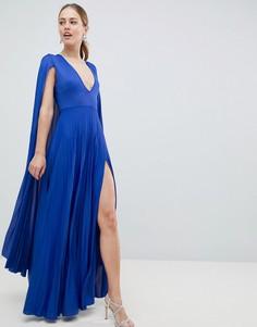 Платье макси с плиссировкой и кейпом ASOS DESIGN - Синий