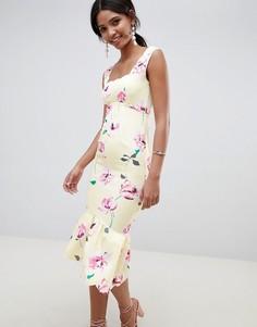 Платье миди с цветочным принтом и фигурными краями ASOS DESIGN - Мульти