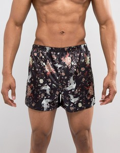 Тканые боксеры с цветочным принтом ASOS - Черный