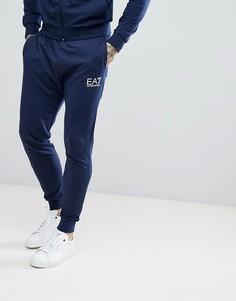 Темно-синие джоггеры узкого кроя с логотипом EA7 - Темно-синий