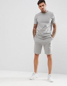 Серый свитшот с короткими рукавами и шорты скинни ASOS DESIGN - Серый