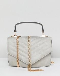 Сумка через плечо с ремешком-цепочкой и кисточкой Yoki Fashion - Серый