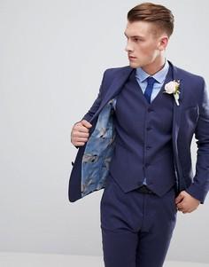 Льняной супероблегающий пиджак цвета индиго ASOS DESIGN - Темно-синий