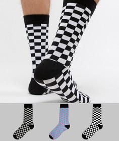 Набор из 3 пар носков в шахматную клетку ASOS DESIGN - Мульти