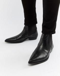 Черные ботинки на каблуке из искусственной кожи ASOS DESIGN - Черный