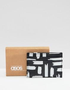 Черная кредитница из искусственной кожи с принтом металлик ASOS DESIGN - Черный