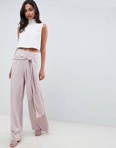 Широкие брюки с поясом ASOS DESIGN - Розовый