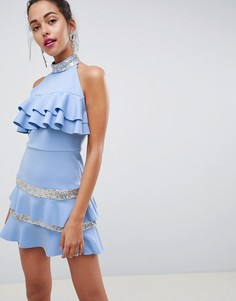 Платье мини с отделкой пайетками и оборкой ASOS DESIGN - Синий