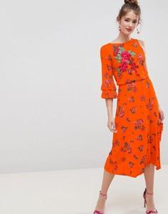Чайное платье миди с цветочным принтом ASOS DESIGN - Мульти