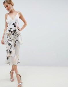 Воздушное платье миди с цветочным принтом ASOS DESIGN - Мульти