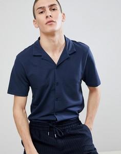 Темно-синяя трикотажная рубашка классического кроя с воротником в виде лацканов River Island - Темно-синий