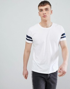 Белая футболка классического кроя с темно-синими полосками на рукавах Esprit - Белый
