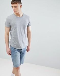 Длинная серая футболка с круглым вырезом Esprit - Серый