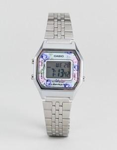 Серебристые цифровые наручные часы с цветочной отделкой Casio LA680WEA-2CEF - Серебряный