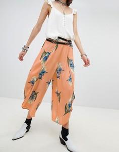 Комбинируемые широкие брюки с запахом и цветочным принтом En Creme - Оранжевый