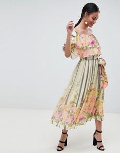Платье-бандо миди с цветочным принтом и оборками ASOS DESIGN - Мульти