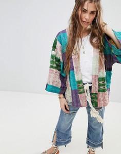 Шелковая премиум-куртка в стиле пэтчворк с рукавами кимоно Aratta - Мульти