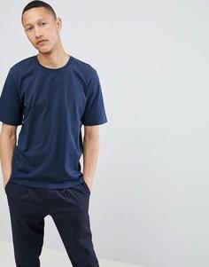 Хлопковая футболка с заниженной линией плеч Selected Homme - Темно-синий