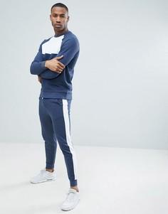 Спортивный костюм скинни меланжевой расцветки ASOS DESIGN - Синий