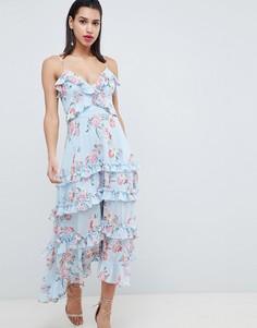Платье макси с цветочным принтом и завязкой на спине Forever New - Синий
