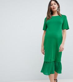 Платье-футболка миди с плиссировкой ASOS DESIGN Maternity - Зеленый