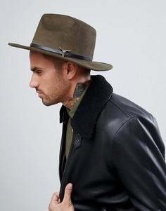 Шляпа-федора с брошью 7X - Зеленый
