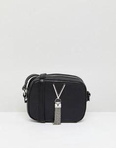 Сумка через плечо для фотоаппарата с кисточками Valentino by Mario Valentino - Черный