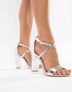 Серебристые босоножки на блочном каблуке Glamorous - Серебряный
