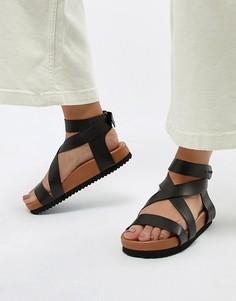 Массивные кожаные сандалии Selected - Черный