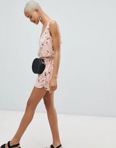 Комбинируемые шорты с цветочным принтом Pieces - Розовый