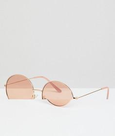 Круглые солнцезащитные очки в золотистой металлической оправе с розовыми стеклами AJ Morgan - Золотой